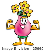 #25665 Clip Art Graphic Of A Pink Vase And Yellow Flowers Cartoon Character Flexing His Arm Muscles