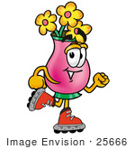 #25666 Clip Art Graphic Of A Pink Vase And Yellow Flowers Cartoon Character Roller Blading On Inline Skates