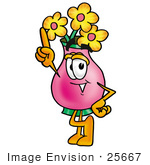 #25667 Clip Art Graphic Of A Pink Vase And Yellow Flowers Cartoon Character Pointing Upwards