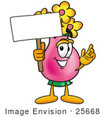 #25668 Clip Art Graphic Of A Pink Vase And Yellow Flowers Cartoon Character Holding A Blank Sign