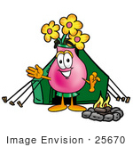 #25670 Clip Art Graphic Of A Pink Vase And Yellow Flowers Cartoon Character Camping With A Tent And Fire