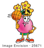 #25671 Clip Art Graphic Of A Pink Vase And Yellow Flowers Cartoon Character Spinning A Basketball On His Finger