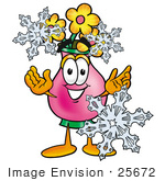 #25672 Clip Art Graphic Of A Pink Vase And Yellow Flowers Cartoon Character With Three Snowflakes In Winter