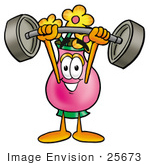 #25673 Clip Art Graphic Of A Pink Vase And Yellow Flowers Cartoon Character Holding A Heavy Barbell Above His Head