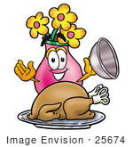 #25674 Clip Art Graphic Of A Pink Vase And Yellow Flowers Cartoon Character Serving A Thanksgiving Turkey On A Platter