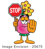 #25675 Clip Art Graphic Of A Pink Vase And Yellow Flowers Cartoon Character Holding A Stop Sign