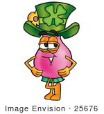 #25676 Clip Art Graphic Of A Pink Vase And Yellow Flowers Cartoon Character Wearing A Saint Patricks Day Hat With A Clover On It