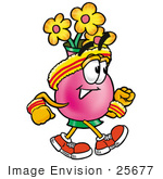 #25677 Clip Art Graphic Of A Pink Vase And Yellow Flowers Cartoon Character Speed Walking Or Jogging