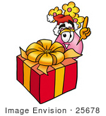 #25678 Clip Art Graphic Of A Pink Vase And Yellow Flowers Cartoon Character Standing By A Christmas Present