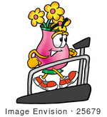 #25679 Clip Art Graphic Of A Pink Vase And Yellow Flowers Cartoon Character Walking On A Treadmill In A Fitness Gym