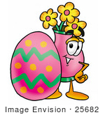 #25682 Clip Art Graphic Of A Pink Vase And Yellow Flowers Cartoon Character Standing Beside An Easter Egg