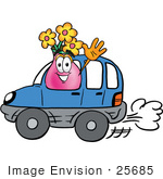 #25685 Clip Art Graphic Of A Pink Vase And Yellow Flowers Cartoon Character Driving A Blue Car And Waving