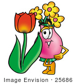 #25686 Clip Art Graphic of a Pink Vase And Yellow Flowers Cartoon Character With a Red Tulip Flower in the Spring by toons4biz
