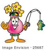 #25687 Clip Art Graphic Of A Pink Vase And Yellow Flowers Cartoon Character Holding A Fish On A Fishing Pole