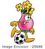 #25688 Clip Art Graphic Of A Pink Vase And Yellow Flowers Cartoon Character Kicking A Soccer Ball