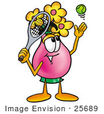 #25689 Clip Art Graphic of a Pink Vase And Yellow Flowers Cartoon Character Preparing to Hit a Tennis Ball by toons4biz