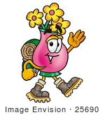 #25690 Clip Art Graphic Of A Pink Vase And Yellow Flowers Cartoon Character Hiking And Carrying A Backpack
