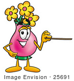 #25691 Clip Art Graphic Of A Pink Vase And Yellow Flowers Cartoon Character Holding A Pointer Stick