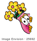 #25692 Clip Art Graphic of a Pink Vase And Yellow Flowers Cartoon Character Peeking Around a Corner by toons4biz