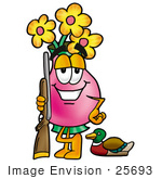 #25693 Clip Art Graphic Of A Pink Vase And Yellow Flowers Cartoon Character Duck Hunting Standing With A Rifle And Duck