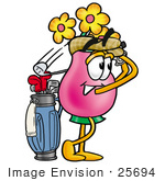 #25694 Clip Art Graphic Of A Pink Vase And Yellow Flowers Cartoon Character Swinging His Golf Club While Golfing