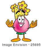 #25695 Clip Art Graphic Of A Pink Vase And Yellow Flowers Cartoon Character Wearing A Birthday Party Hat