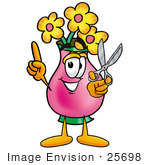#25698 Clip Art Graphic Of A Pink Vase And Yellow Flowers Cartoon Character Holding A Pair Of Scissors