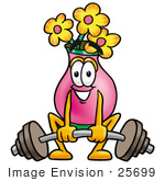 #25699 Clip Art Graphic Of A Pink Vase And Yellow Flowers Cartoon Character Lifting A Heavy Barbell