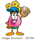 #25700 Clip Art Graphic Of A Pink Vase And Yellow Flowers Cartoon Character Catching A Baseball With A Glove