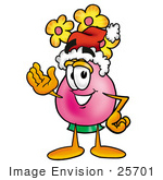 #25701 Clip Art Graphic Of A Pink Vase And Yellow Flowers Cartoon Character Wearing A Santa Hat And Waving