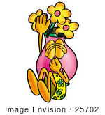 #25702 Clip Art Graphic Of A Pink Vase And Yellow Flowers Cartoon Character Plugging His Nose While Jumping Into Water