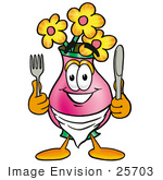 #25703 Clip Art Graphic of a Pink Vase And Yellow Flowers Cartoon Character Holding a Knife and Fork by toons4biz