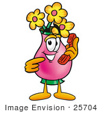#25704 Clip Art Graphic Of A Pink Vase And Yellow Flowers Cartoon Character Holding A Telephone