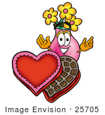 #25705 Clip Art Graphic Of A Pink Vase And Yellow Flowers Cartoon Character With An Open Box Of Valentines Day Chocolate Candies