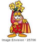 #25706 Clip Art Graphic Of A Pink Vase And Yellow Flowers Cartoon Character In Orange And Red Snorkel Gear