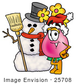 #25708 Clip Art Graphic Of A Pink Vase And Yellow Flowers Cartoon Character With A Snowman On Christmas