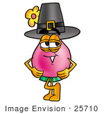 #25710 Clip Art Graphic Of A Pink Vase And Yellow Flowers Cartoon Character Wearing A Pilgrim Hat On Thanksgiving