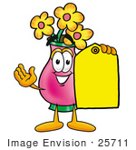 #25711 Clip Art Graphic Of A Pink Vase And Yellow Flowers Cartoon Character Holding A Yellow Sales Price Tag