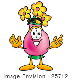 #25712 Clip Art Graphic Of A Pink Vase And Yellow Flowers Cartoon Character With Welcoming Open Arms