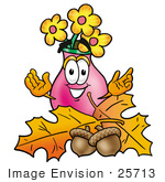 #25713 Clip Art Graphic Of A Pink Vase And Yellow Flowers Cartoon Character With Autumn Leaves And Acorns In The Fall
