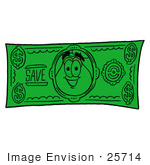 #25714 Clip Art Graphic Of A Pink Vase And Yellow Flowers Cartoon Character On A Dollar Bill