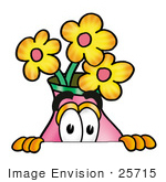 #25715 Clip Art Graphic Of A Pink Vase And Yellow Flowers Cartoon Character Peeking Over A Surface