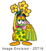 #25716 Clip Art Graphic Of A Pink Vase And Yellow Flowers Cartoon Character In Green And Yellow Snorkel Gear