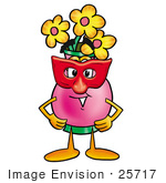 #25717 Clip Art Graphic Of A Pink Vase And Yellow Flowers Cartoon Character Wearing A Red Mask Over His Face