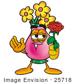 #25718 Clip Art Graphic Of A Pink Vase And Yellow Flowers Cartoon Character Holding A Red Rose On Valentines Day