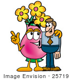 #25719 Clip Art Graphic Of A Pink Vase And Yellow Flowers Cartoon Character Talking To A Business Man
