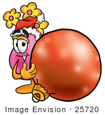 #25720 Clip Art Graphic Of A Pink Vase And Yellow Flowers Cartoon Character Wearing A Santa Hat Standing With A Christmas Bauble