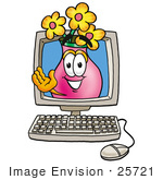 #25721 Clip Art Graphic Of A Pink Vase And Yellow Flowers Cartoon Character Waving From Inside A Computer Screen