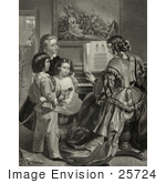 #25724 Stock Photography Of Three Children Singing The Star Spangled Banner With A Woman Who Is Playing A Piano