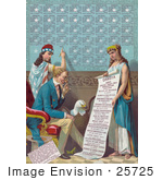 #25725 Stock Photography Of Lady Liberty Writing Information On The Dakota Area While Uncle Sam And A Bald Eagle Read A Scroll That Is Being Held By A Female Personification Of Dakota